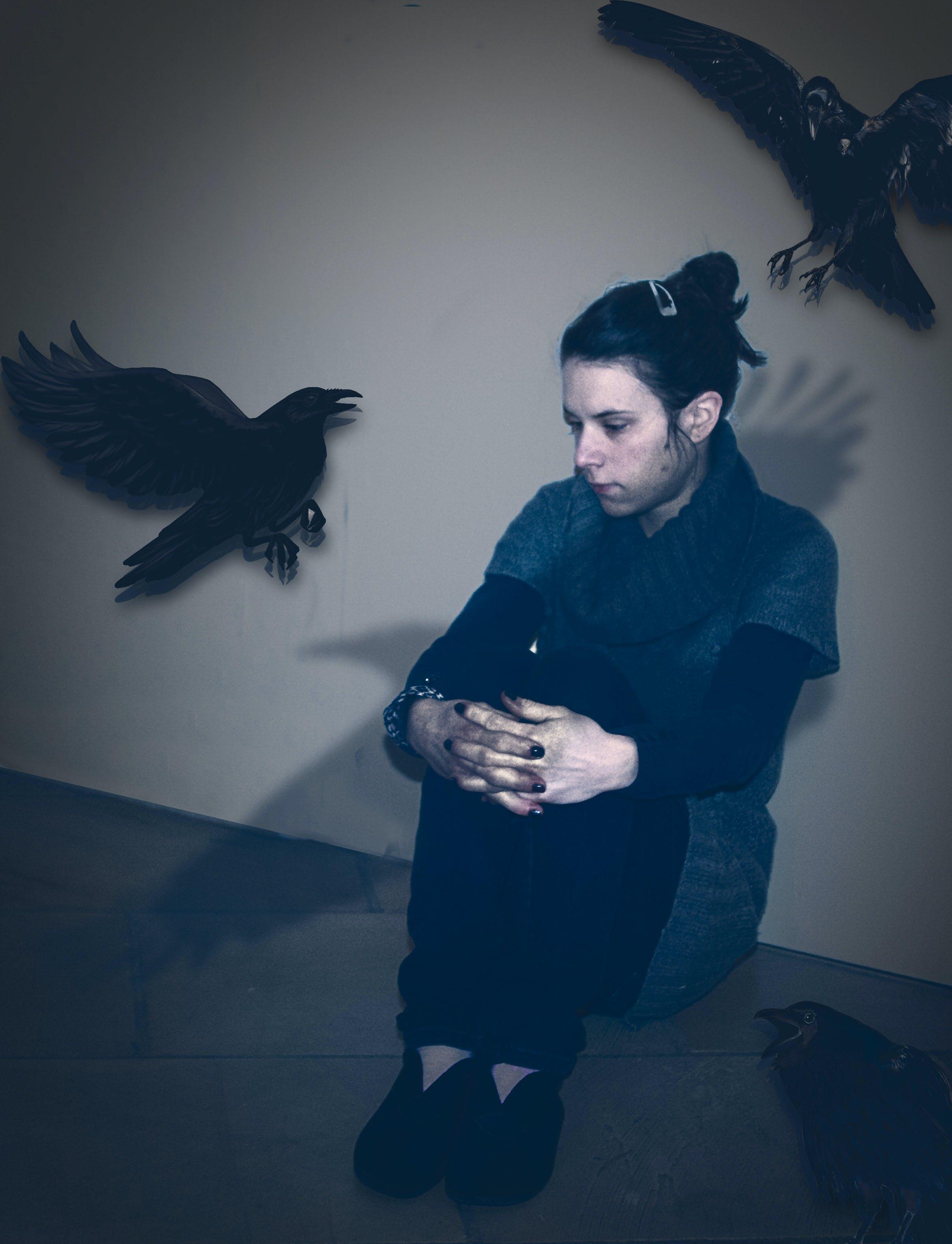 Free stock photo of night, raven, selfie
