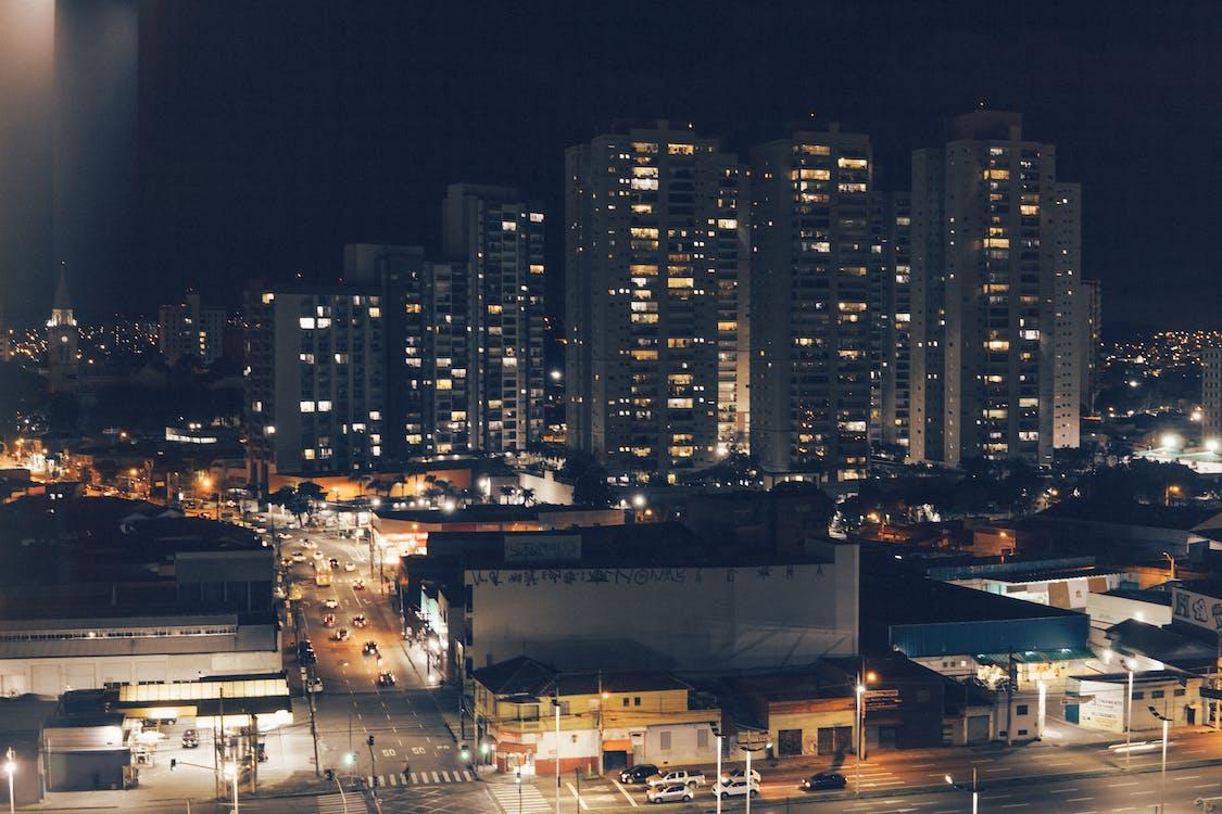 Free stock photo of building, city, city lights
