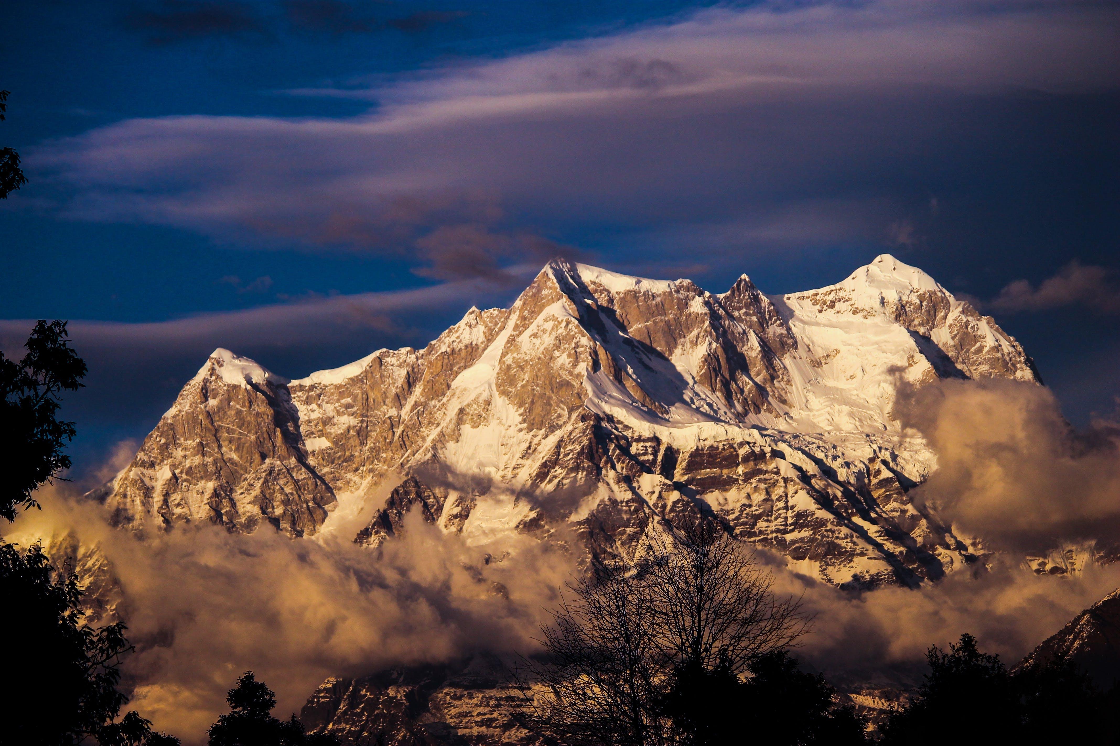 Free stock photo of snow, trees, mountain, cloud