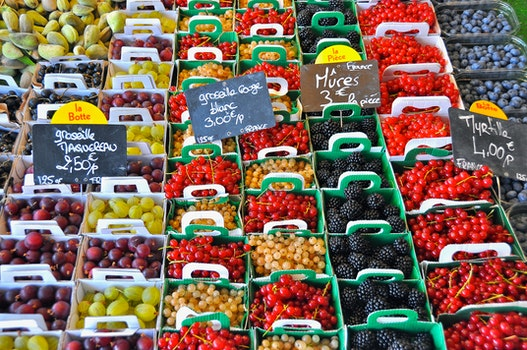 Stack of Fruits With Signage