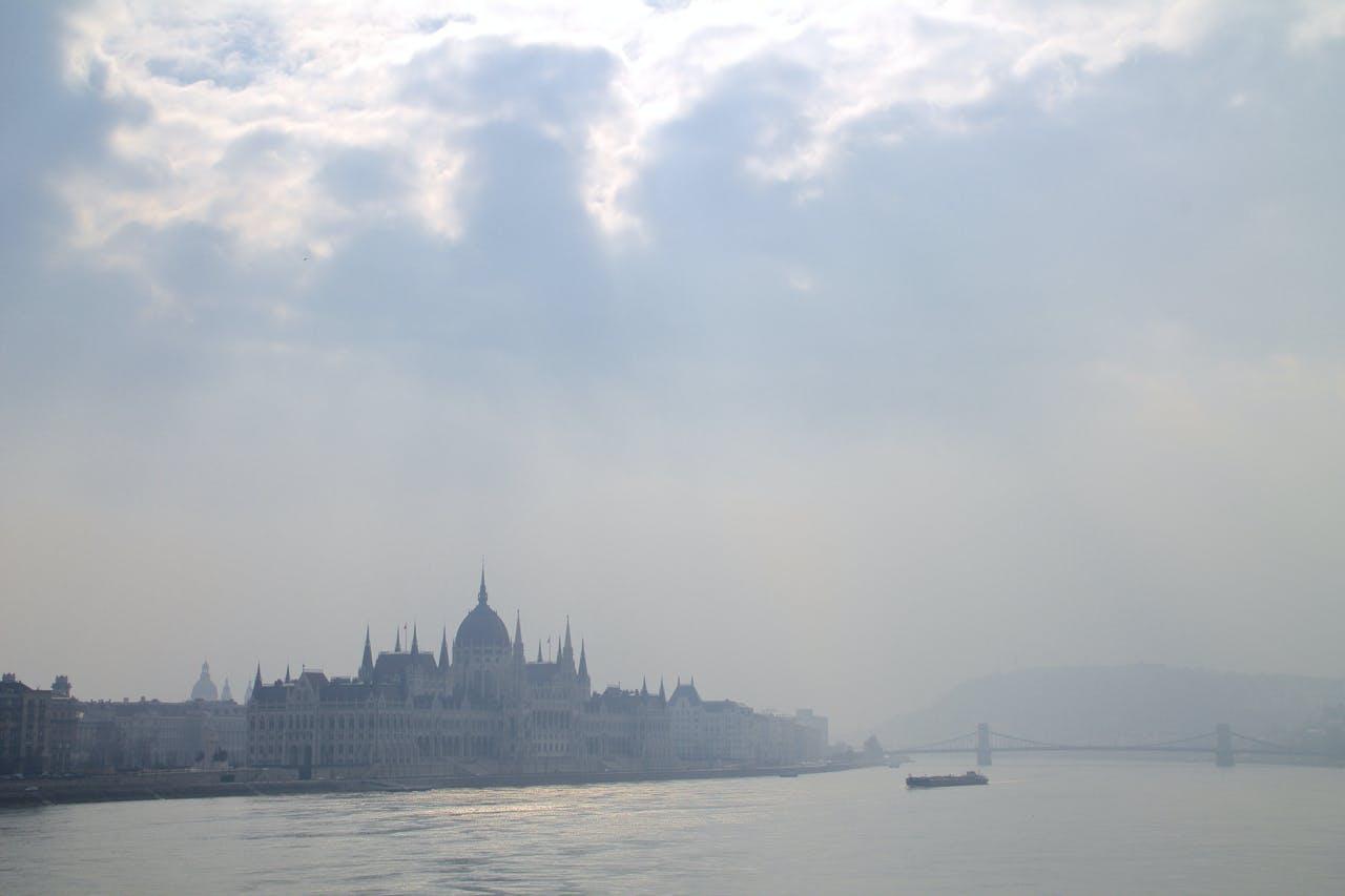 Free stock photo of boat, bridge, Budapest, clouds