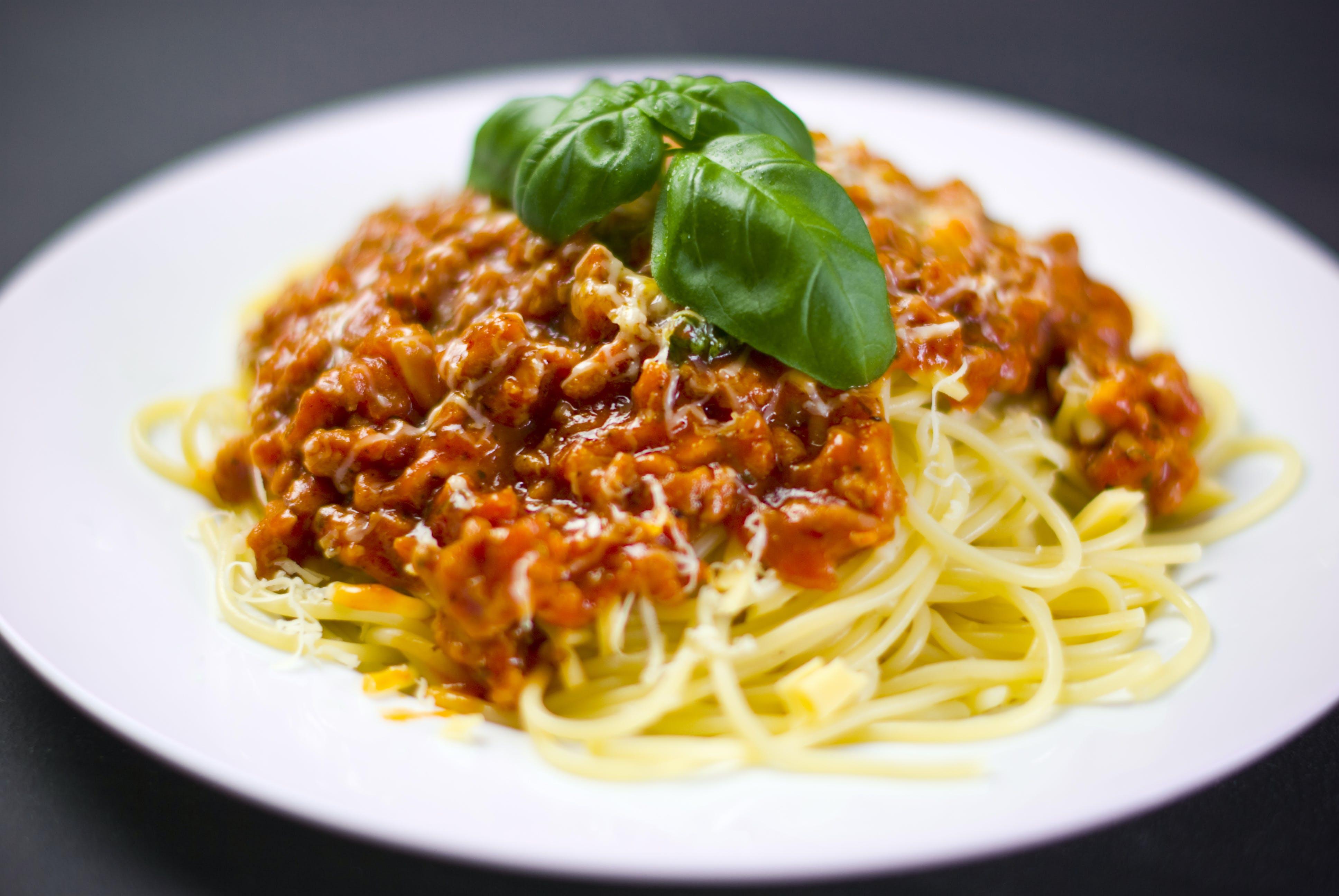 Spaghetti on White Plate