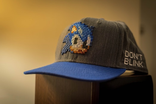 Blue and Gray Sonic Fitted Cap