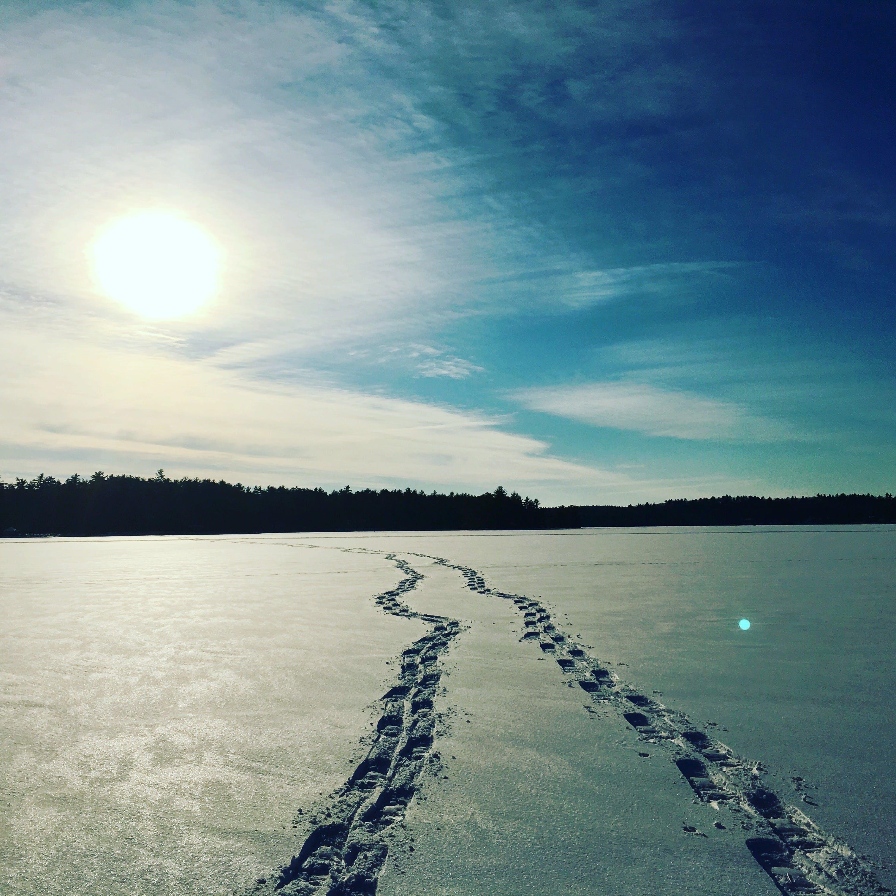 frozen lake, frozen terrain, maine