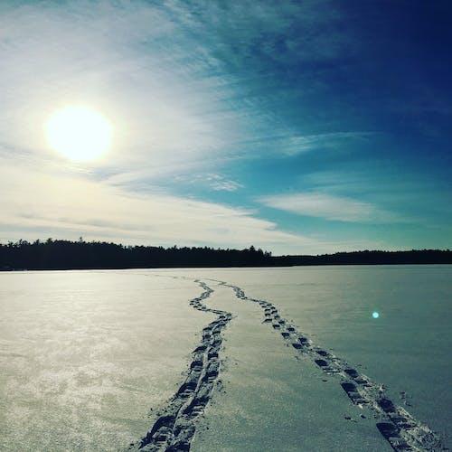 Free stock photo of frozen lake, frozen terrain, maine