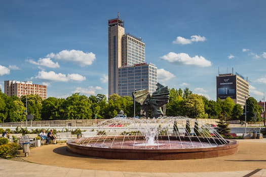 Free stock photo of city, buildings, park, fountain