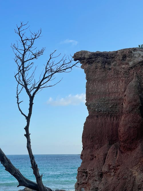 Brown Rock Formation Near Body of Water