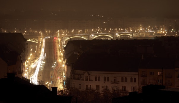Free stock photo of light, cars, lights, night