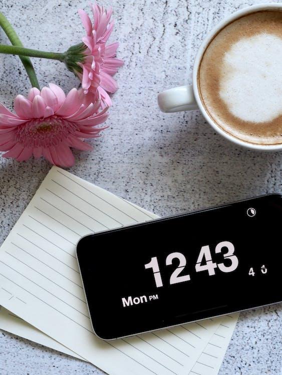 iphone, カップ, コーヒー