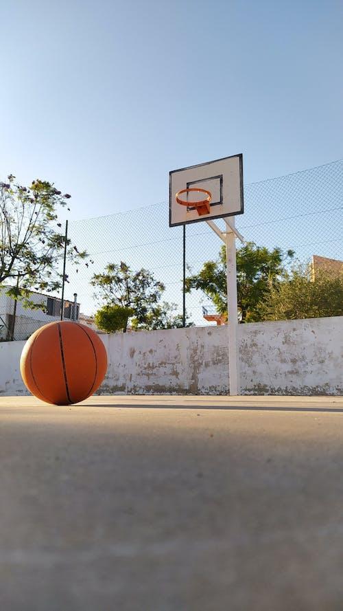 Low-Angle Shot of Basketball on Basketball Court