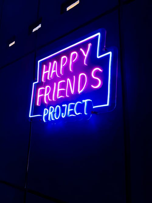Lighted Neon Signage of Happy Friends Project