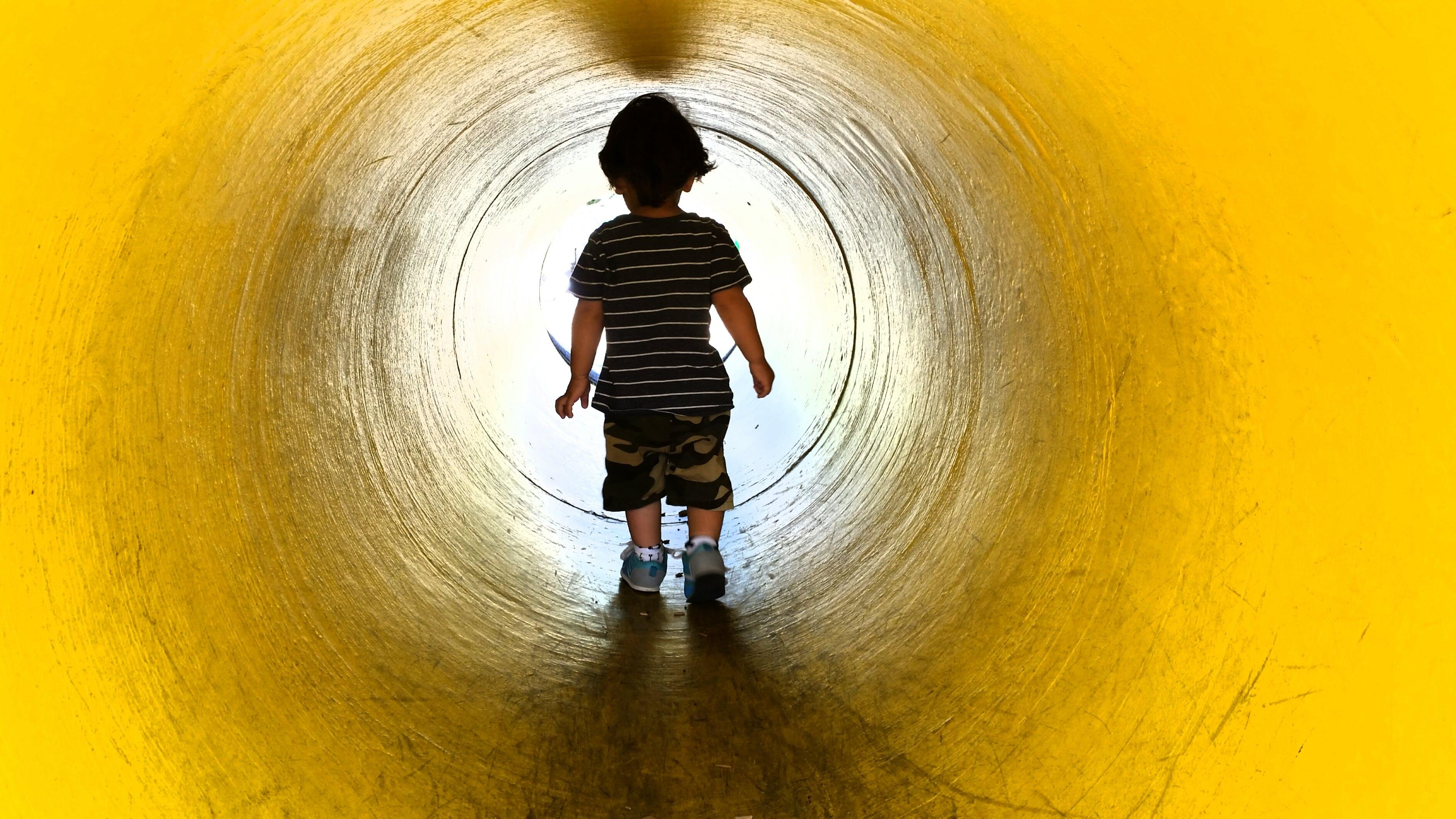 Free stock photo of silhouette, tunnel, fun, kid