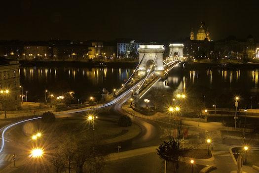 Free stock photo of night, street, bridge, long exposure
