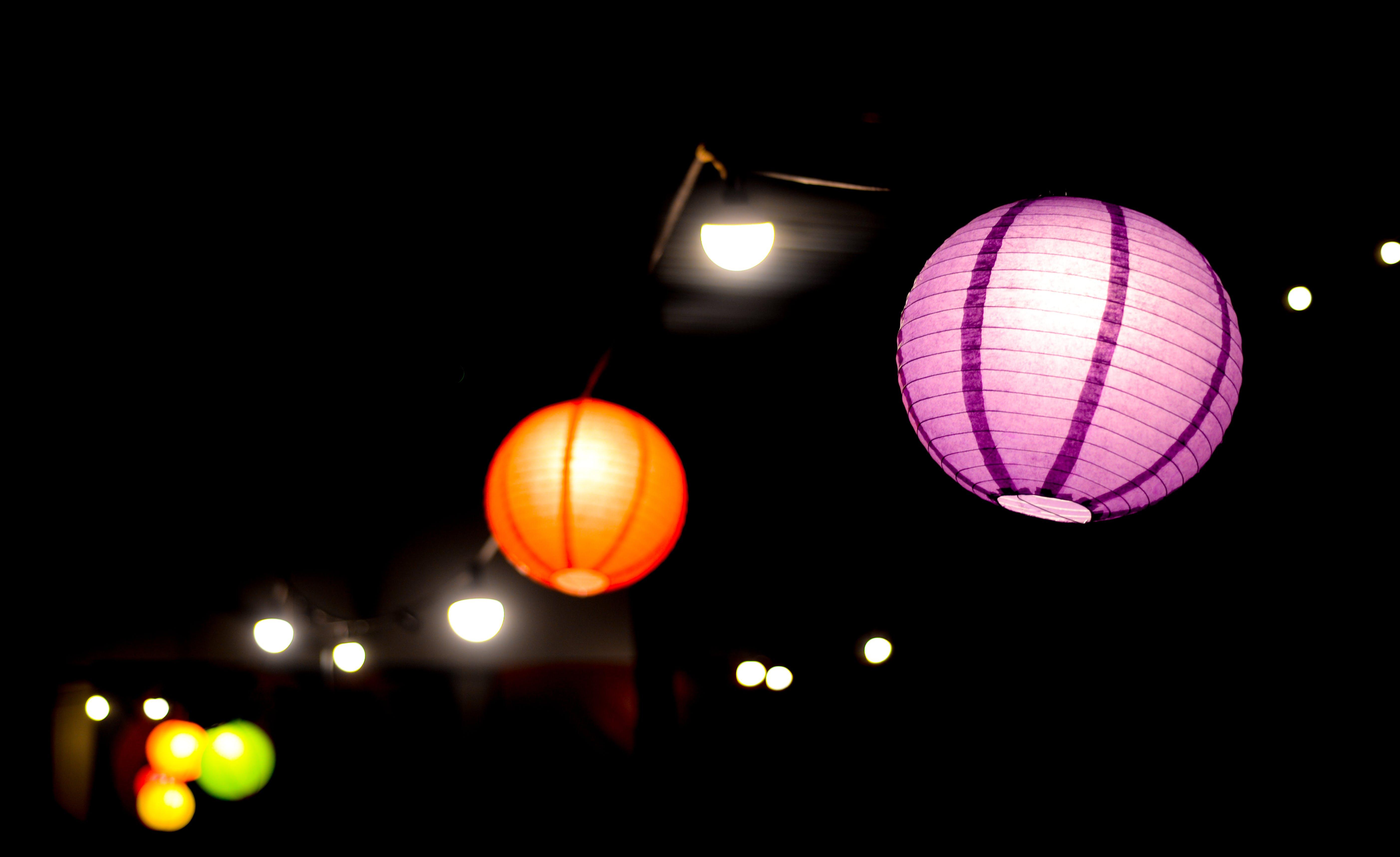 Two Purple and Orange Lanterns Photo