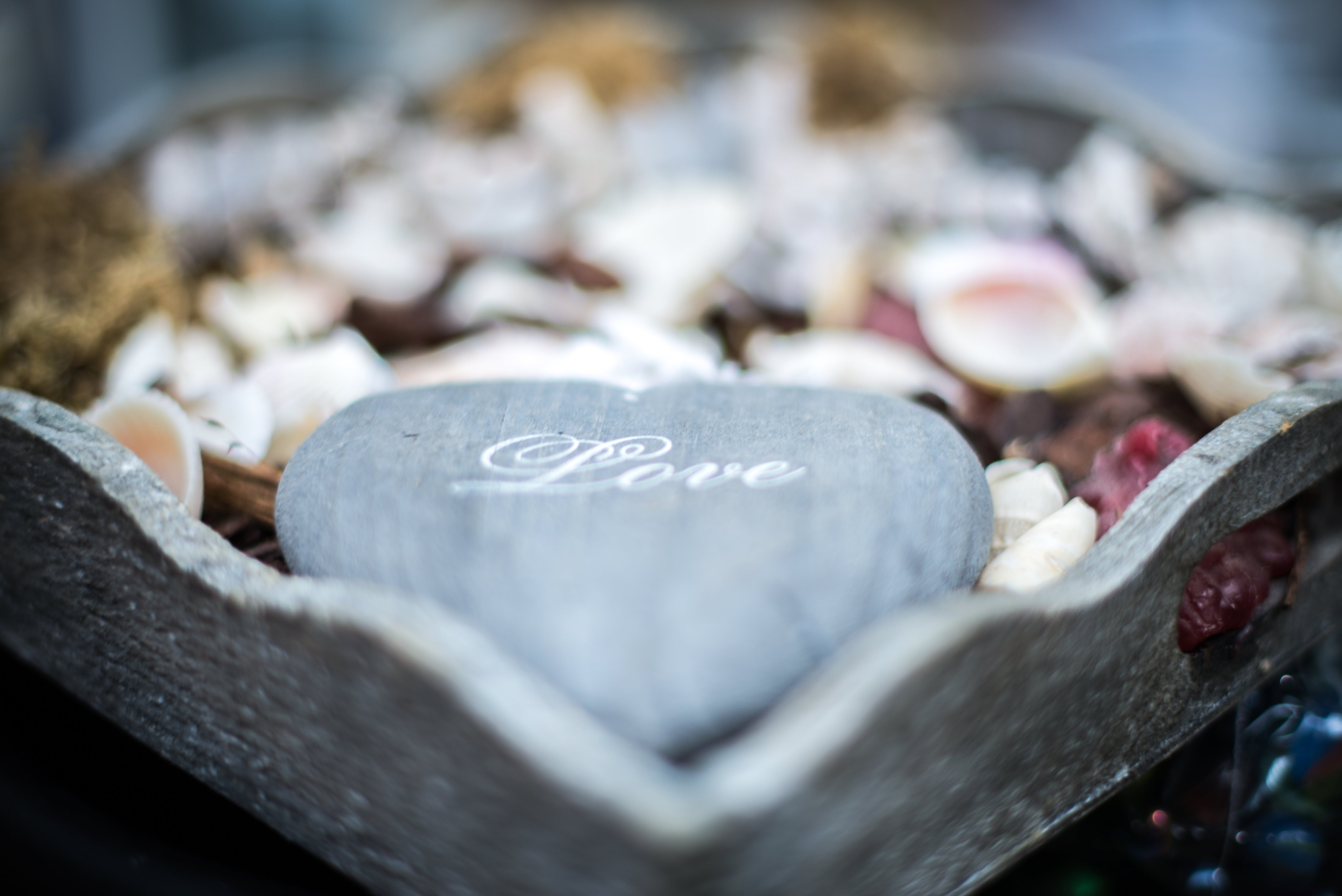 Gray Heart Shape Rock With Love Text Overlay Decor