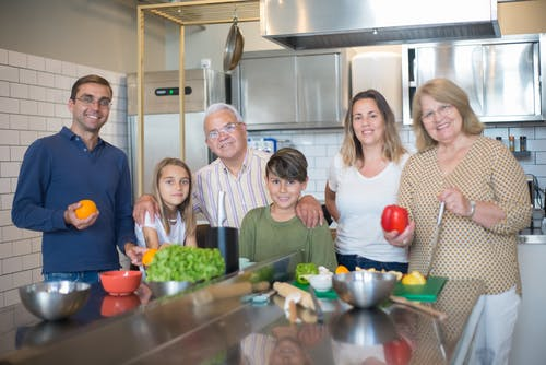 Group of People Standing in Kitchen