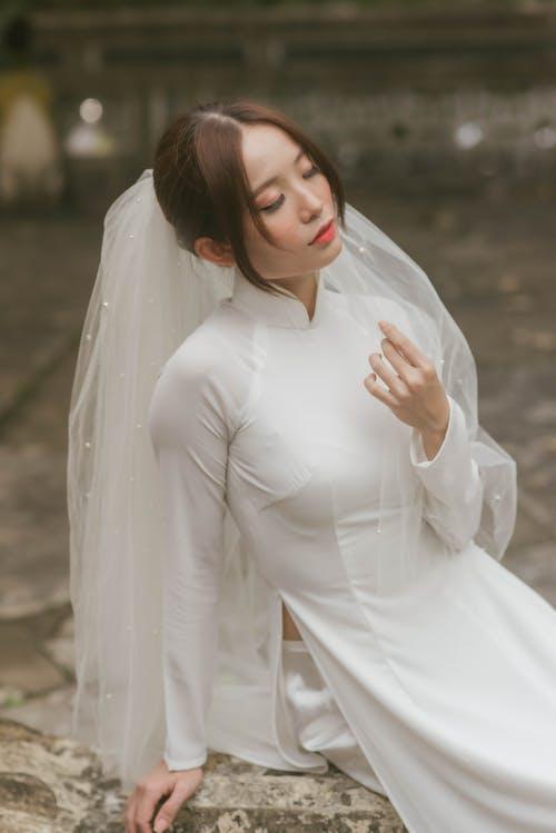 Woman in White Bridal Dress