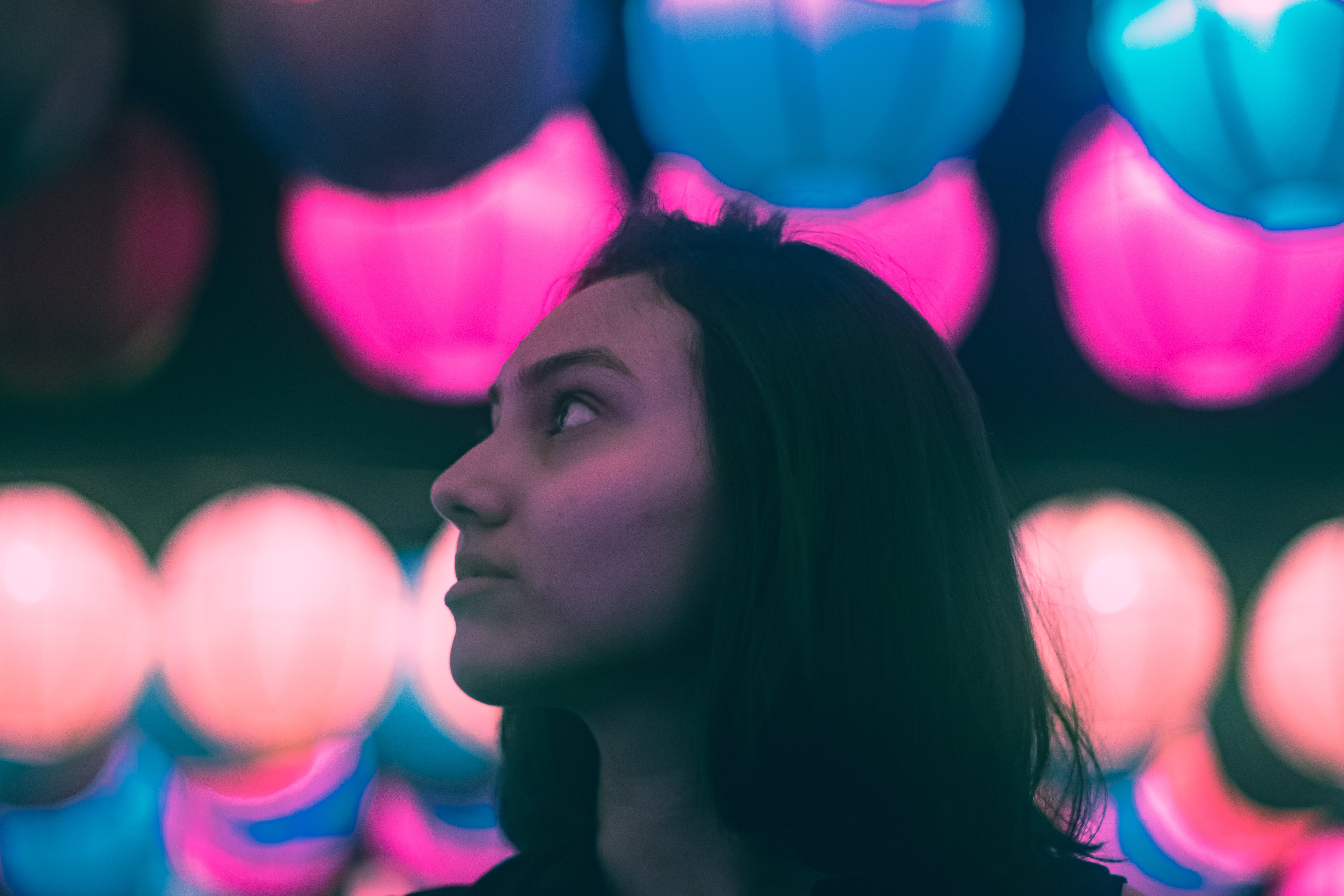 Woman in Portrait Photo With Bokeh Effect Background