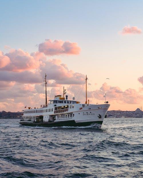 White Ferry Sailing Across the Ocean