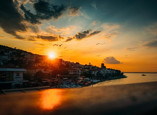 Free stock photo of beach sunset, golden horizon, golden sunset