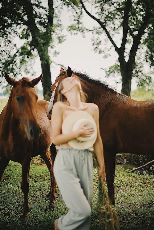 Woman near Horses