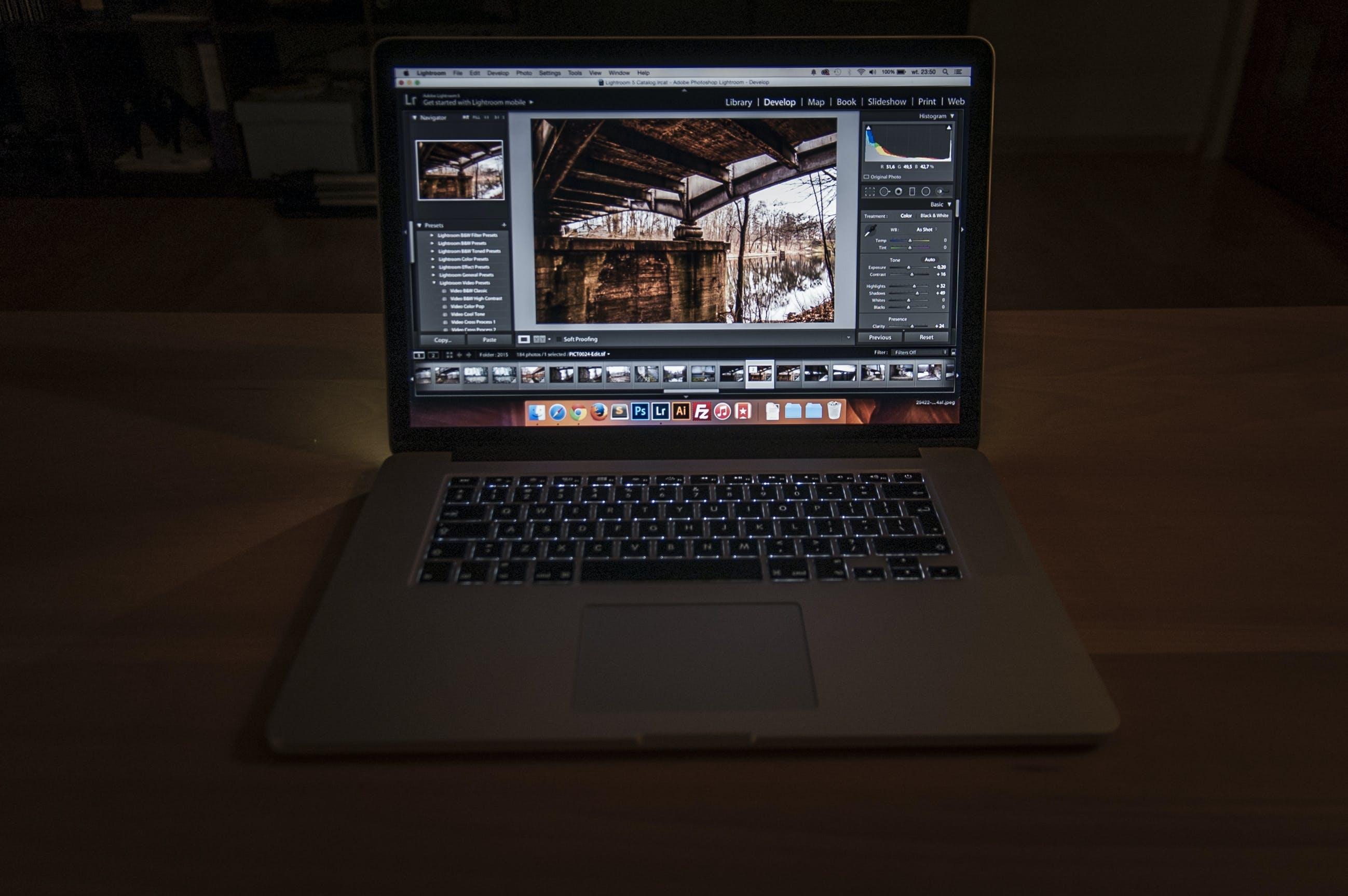 Free stock photo of macbook, lightroom, retouch