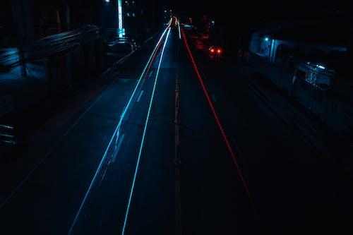 Light Streaks on Road at Night