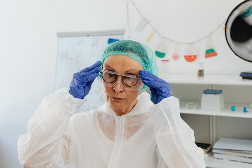 Elderly Woman Wearing Protective Goggles