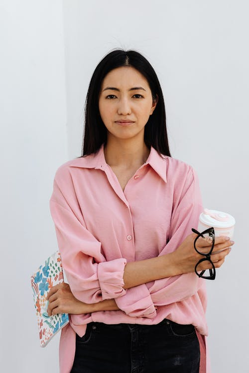 Woman in Pink Long Sleeve Shirt