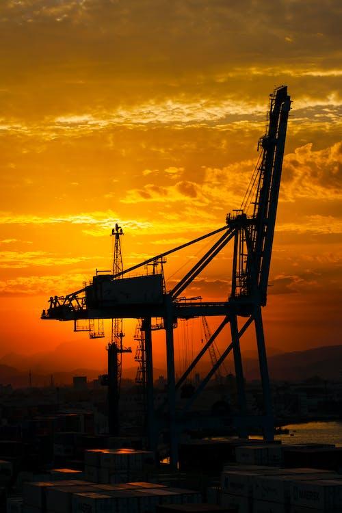 Free stock photo of backlit, cargo, cargo port
