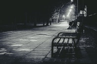 bench, black-and-white, city