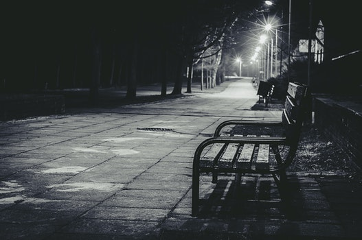 Free stock photo of bench, black-and-white, city, road