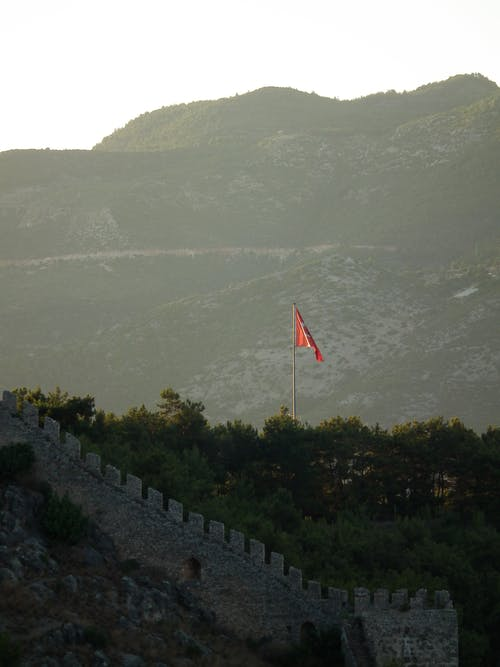 Red Flag on Pole Near Green Trees