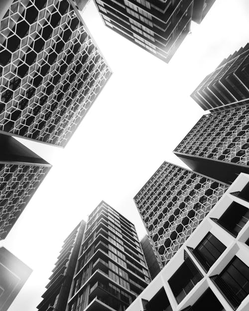 Identical Buildings in Low Angle Photography