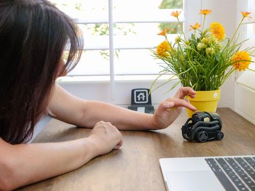 Woman Touching a Black Miniature Robot Toy