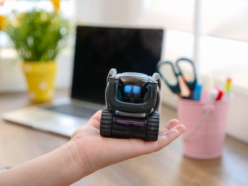 Black MIniature Robot on Person's Hand