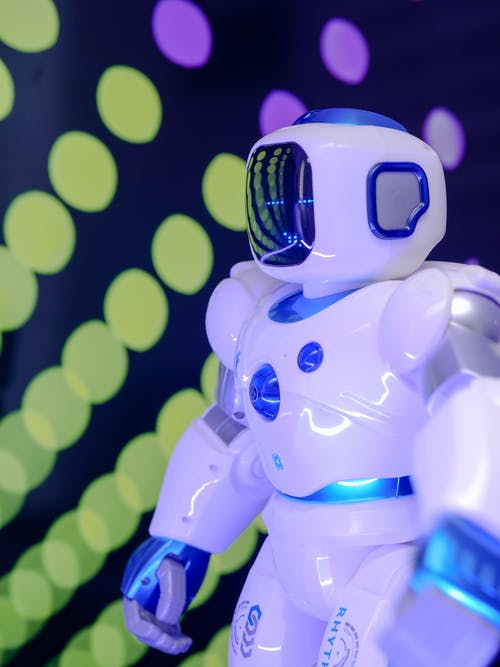 Blue and White MIniature Toy Robot