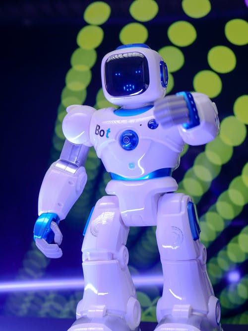 Blue and White Robot Toy