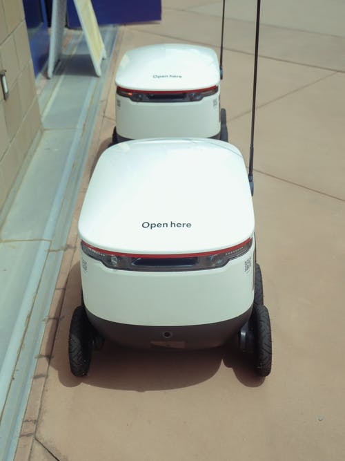 High Angle Shot of Delivery Robots