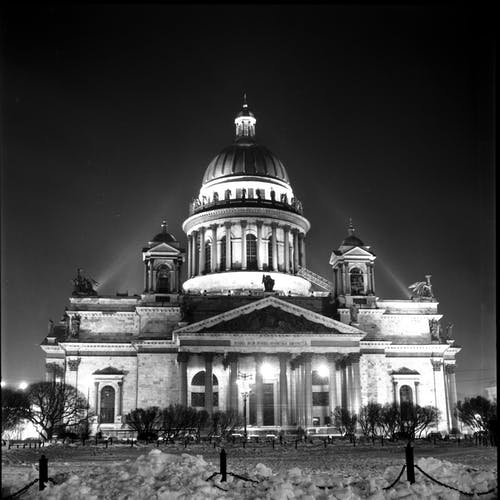 St Isaac's Cathedral In Grayscale Photography