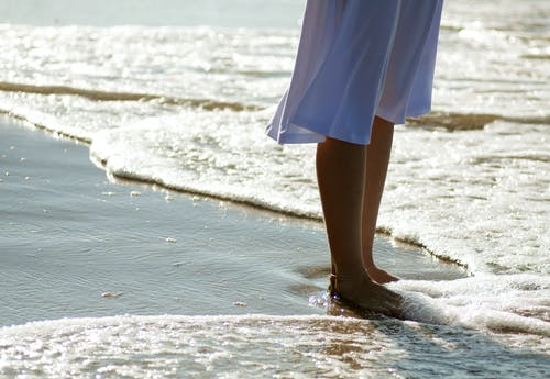Womans Feet on Water with Sea Foam