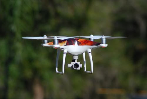 Close-Up Shot of a Drone Camera Flying