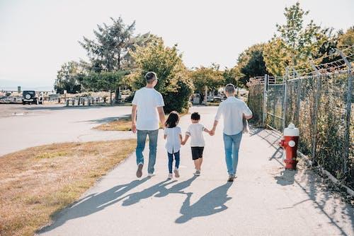 一家人在人行道上手牽手的背影