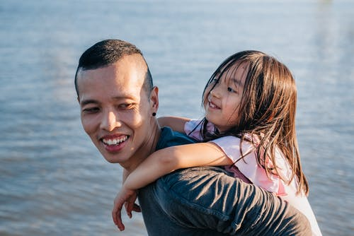 Dad Carrying His Cute Daughter