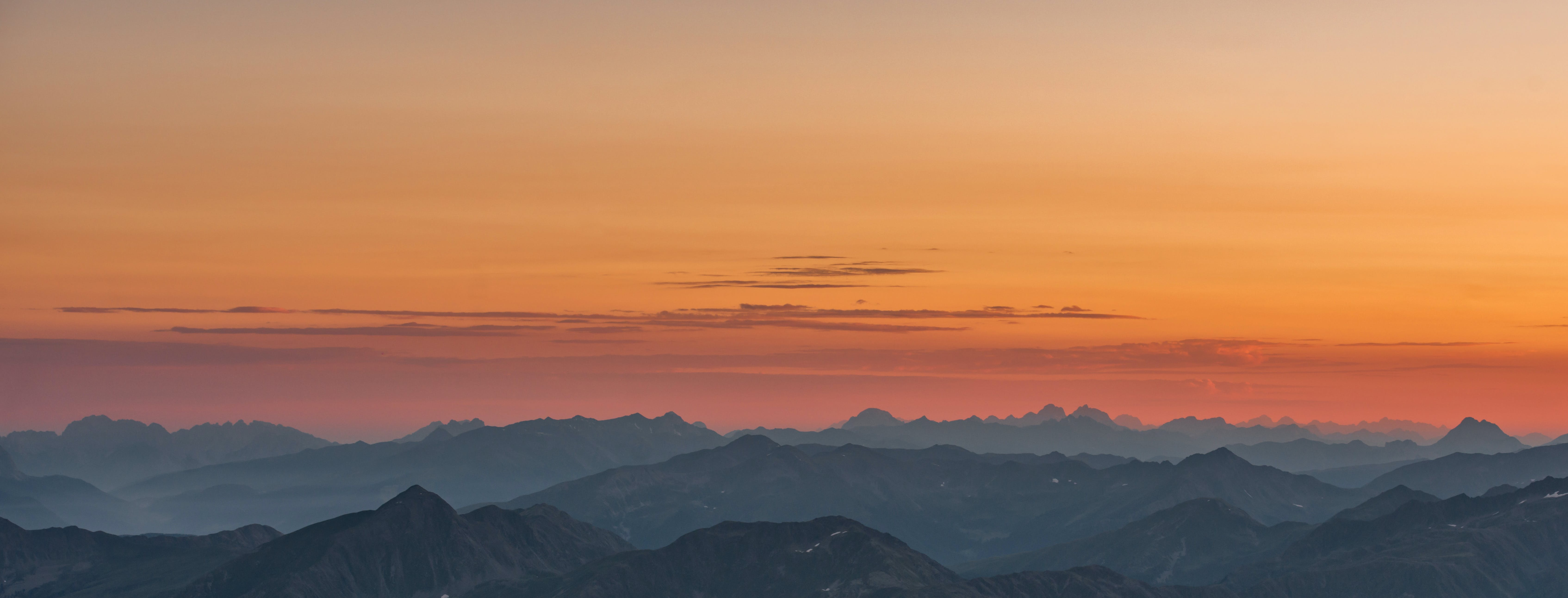Areal View of Mountains during Sunset