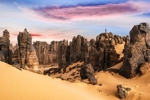 The  Beautiful Geological Formation of Rock Mountains in Sahara Desert
