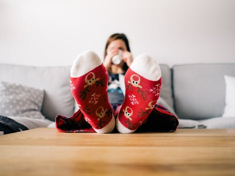Free stock photo of feet, girl, table, christmas