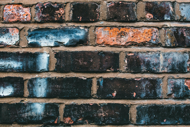 Black, Blue, and Orange Concrete Brick