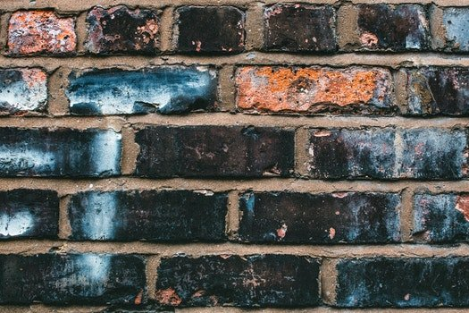 Black, Blue, and Orange Concrete Brick