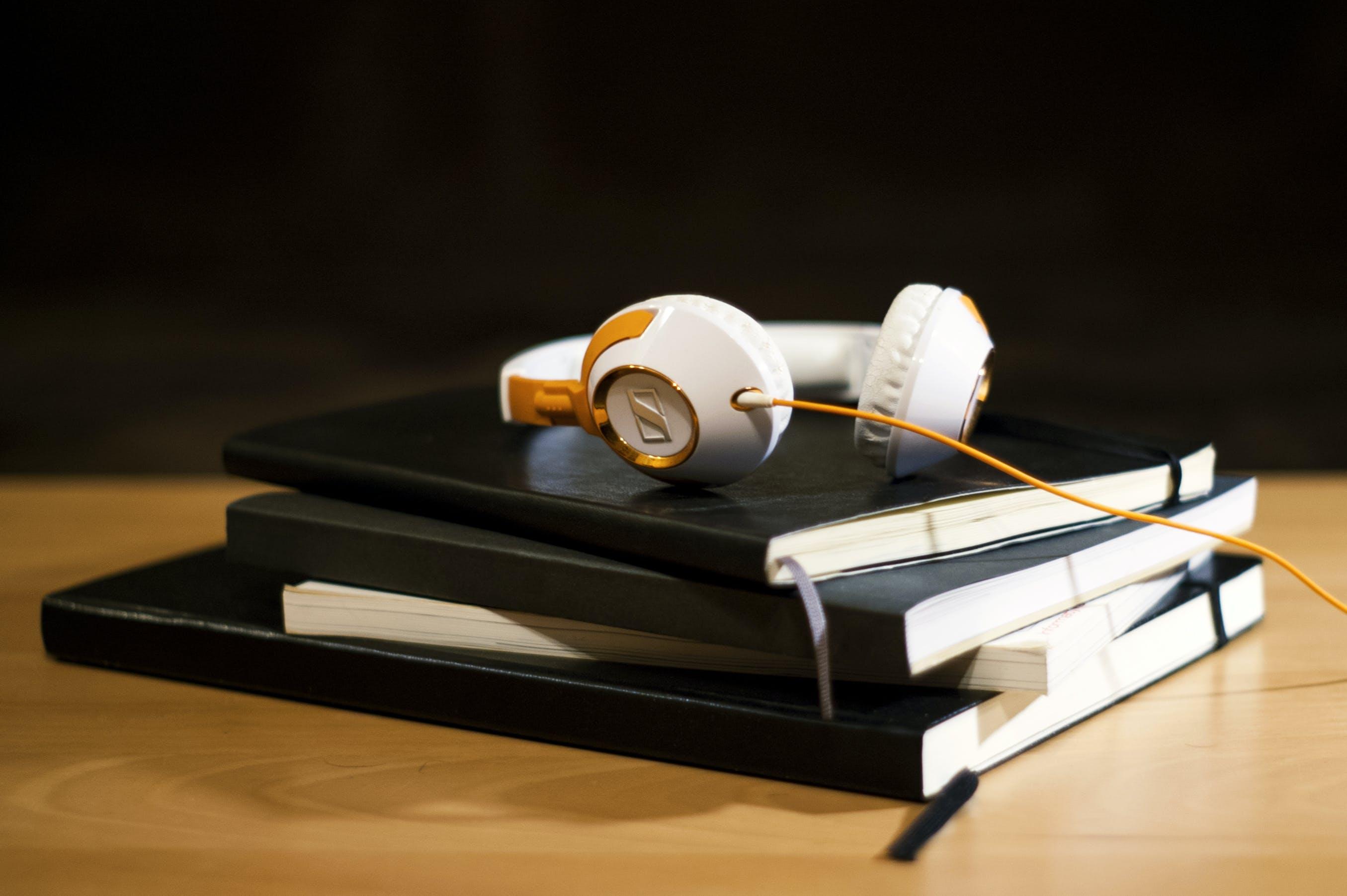 Free stock photo of night, books, headphones
